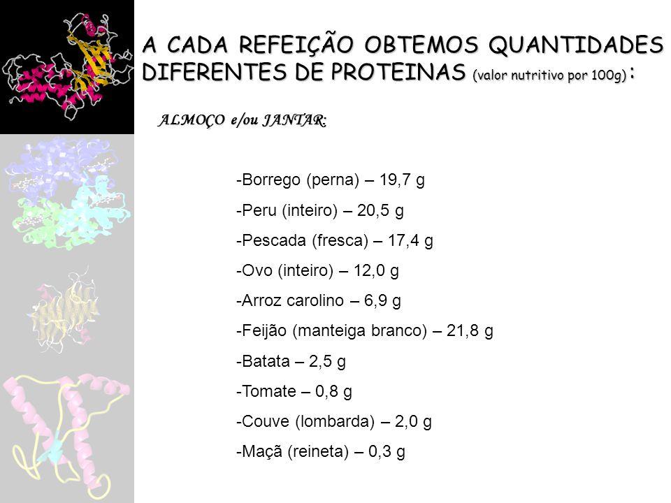 A CADA REFEIÇÃO OBTEMOS QUANTIDADES DIFERENTES DE PROTEINAS (valor nutritivo por 100g) : ALMOÇO e/ou JANTAR: -Borrego (perna) – 19,7 g -Peru (inteiro)
