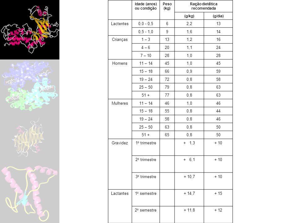 Idade (anos) ou condi ç ão Peso (kg) Ra ç ão diet é tica recomendada (g/kg)(g/dia) Lactentes0,0 - 0,562,213 0,5 - 1,091,614 Crian ç as1 – 3 131,216 4