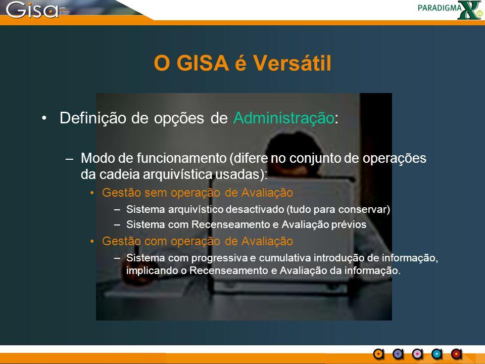 O GISA é Versátil Definição de opções de Administração: –Modo de funcionamento (difere no conjunto de operações da cadeia arquivística usadas): Gestão