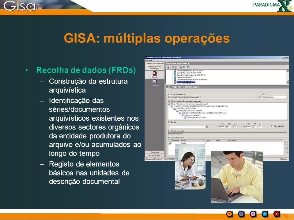 GISA: múltiplas operações Recolha de dados (FRDs) –Construção da estrutura arquivística –Identificação das séries/documentos arquivísticos existentes