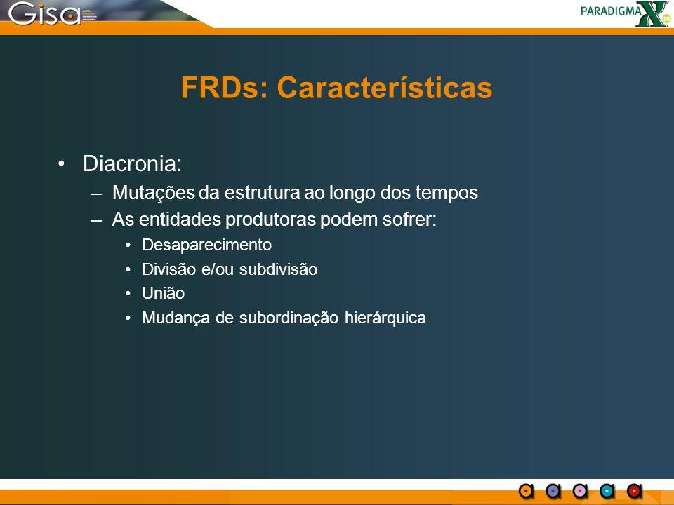 FRDs: Características Diacronia: –Mutações da estrutura ao longo dos tempos –As entidades produtoras podem sofrer: Desaparecimento Divisão e/ou subdiv