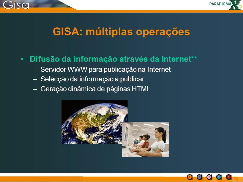 GISA: múltiplas operações Difusão da informação através da Internet** –Servidor WWW para publicação na Internet –Selecção da informação a publicar –Ge