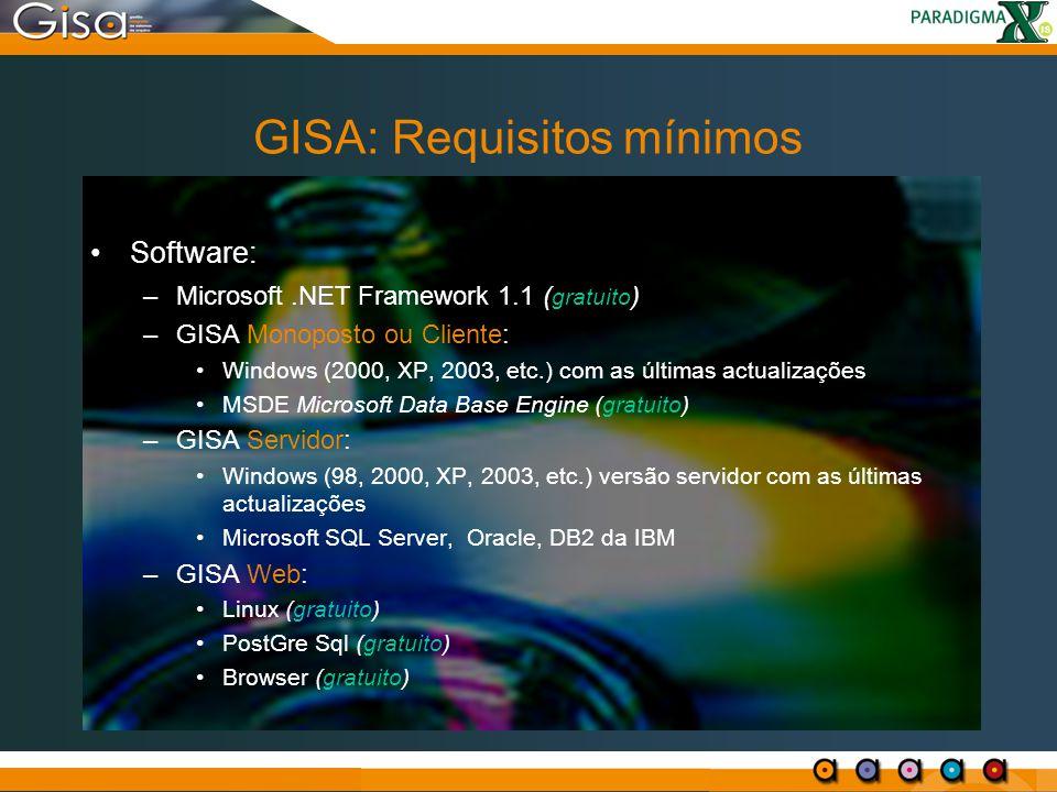 GISA: Requisitos mínimos Software: –Microsoft.NET Framework 1.1 ( gratuito ) –GISA Monoposto ou Cliente: Windows (2000, XP, 2003, etc.) com as últimas