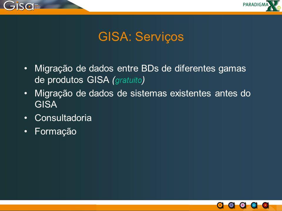 GISA: Serviços Migração de dados entre BDs de diferentes gamas de produtos GISA ( gratuito ) Migração de dados de sistemas existentes antes do GISA Co