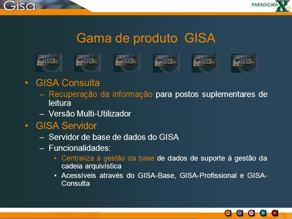 Gama de produto GISA GISA Consulta –Recuperação da informação para postos suplementares de leitura –Versão Multi-Utilizador GISA Servidor –Servidor de