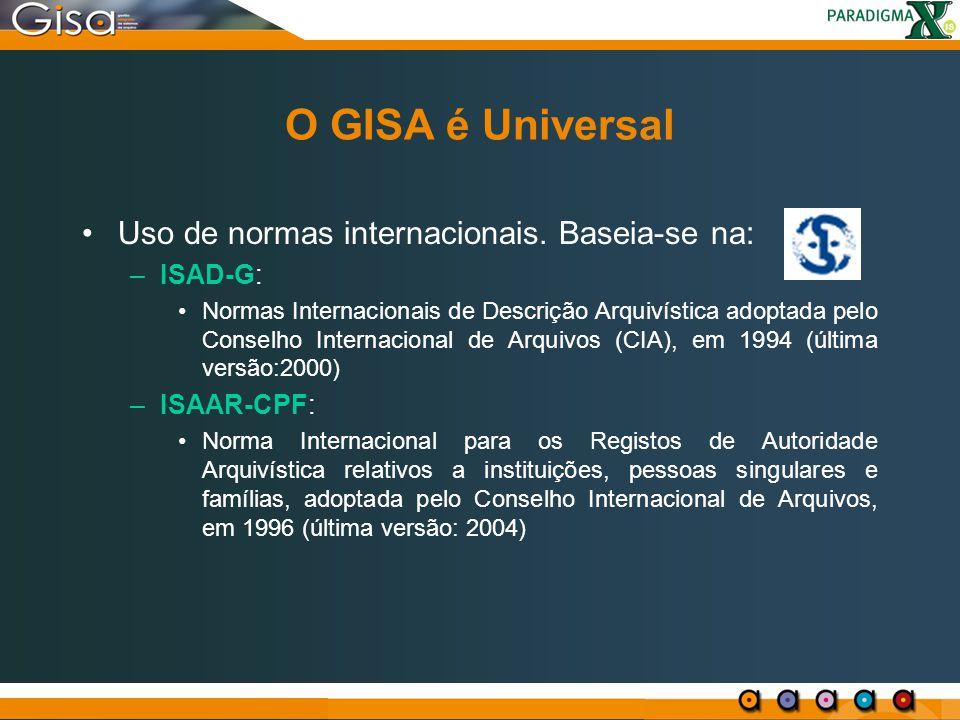 O GISA é Universal Uso de normas internacionais. Baseia-se na: –ISAD-G: Normas Internacionais de Descrição Arquivística adoptada pelo Conselho Interna