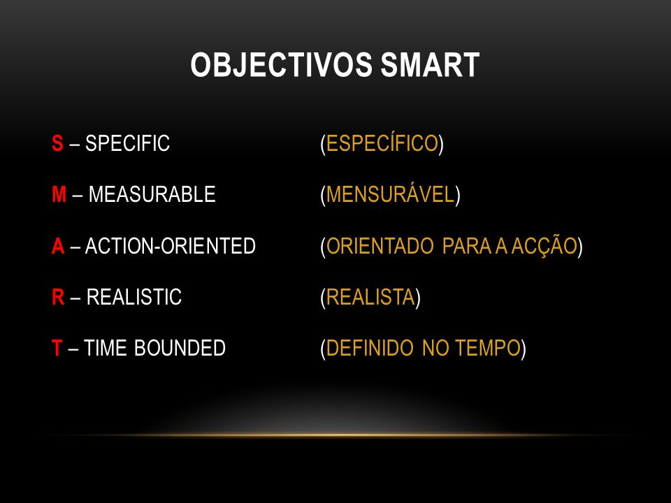 OBJECTIVOS SMART S – SPECIFIC (ESPECÍFICO) M – MEASURABLE (MENSURÁVEL) A – ACTION-ORIENTED (ORIENTADO PARA A ACÇÃO) R – REALISTIC (REALISTA) T – TIME BOUNDED (DEFINIDO NO TEMPO)