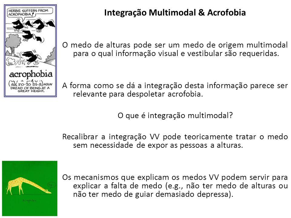 Integração Multimodal & Acrofobia O medo de alturas pode ser um medo de origem multimodal para o qual informação visual e vestibular são requeridas.