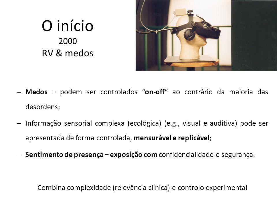 O início 2000 RV & medos – Medos – podem ser controlados on-off ao contrário da maioria das desordens; – Informação sensorial complexa (ecológica) (e.g., visual e auditiva) pode ser apresentada de forma controlada, mensurável e replicável; – Sentimento de presença – exposição com confidencialidade e segurança.