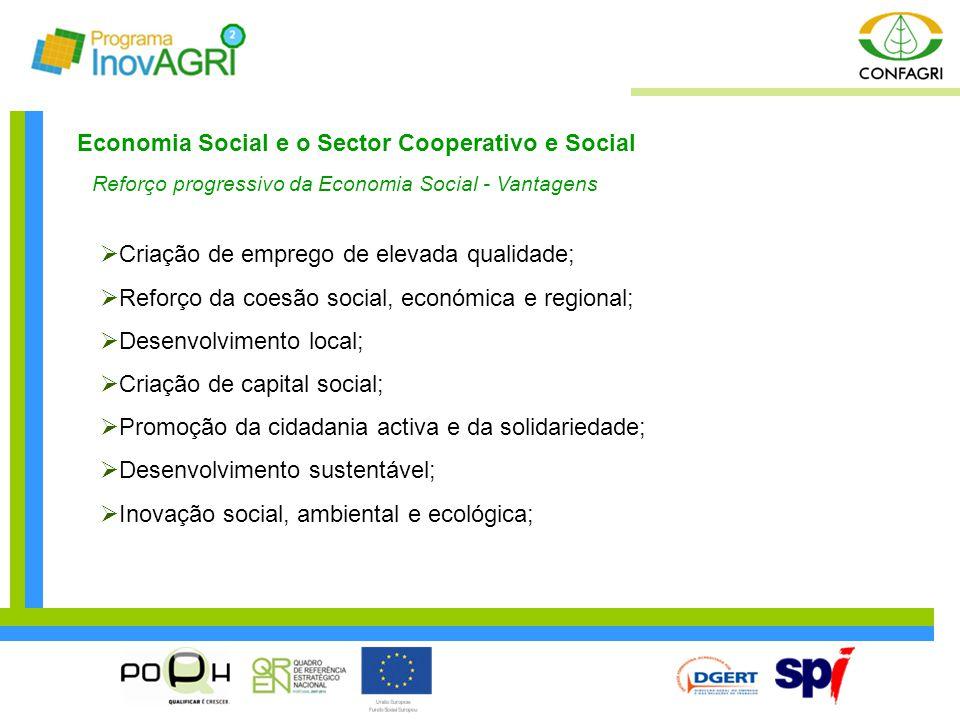 Economia Social e o Sector Cooperativo e Social Reforço progressivo da Economia Social - Vantagens  Criação de emprego de elevada qualidade;  Reforç