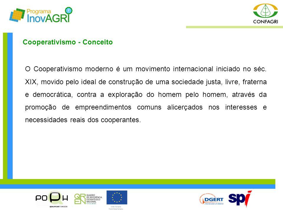 Cooperativismo - Conceito O Cooperativismo moderno é um movimento internacional iniciado no séc. XIX, movido pelo ideal de construção de uma sociedade
