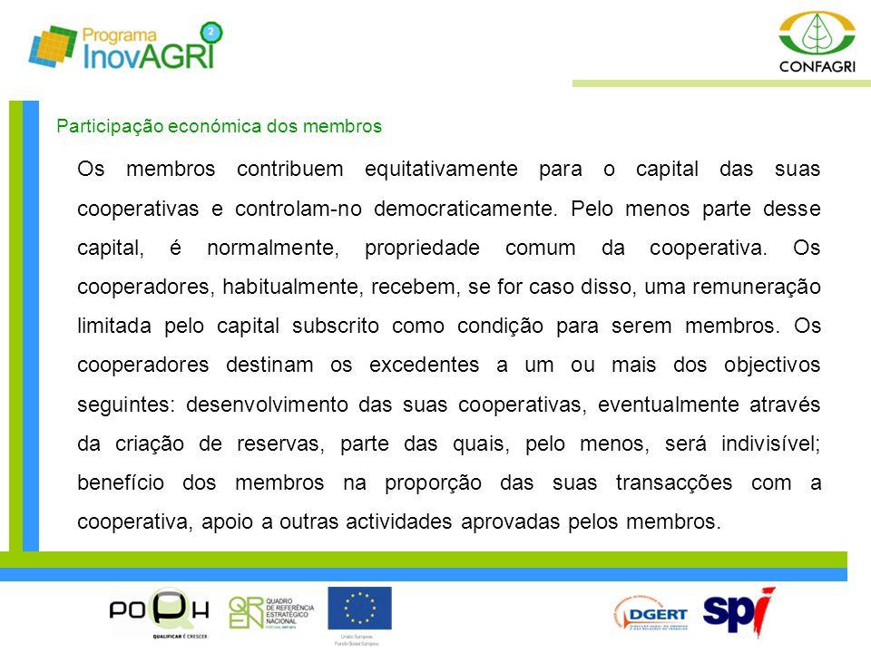 Participação económica dos membros Os membros contribuem equitativamente para o capital das suas cooperativas e controlam-no democraticamente. Pelo me