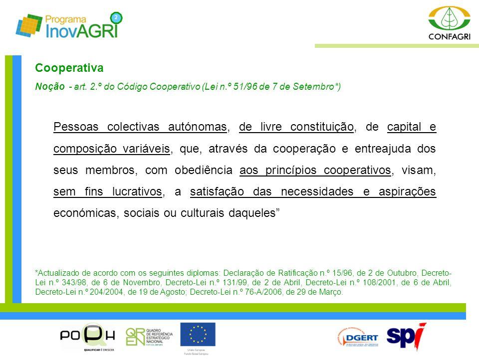 Cooperativa Noção - art. 2.º do Código Cooperativo (Lei n.º 51/96 de 7 de Setembro*) Pessoas colectivas autónomas, de livre constituição, de capital e