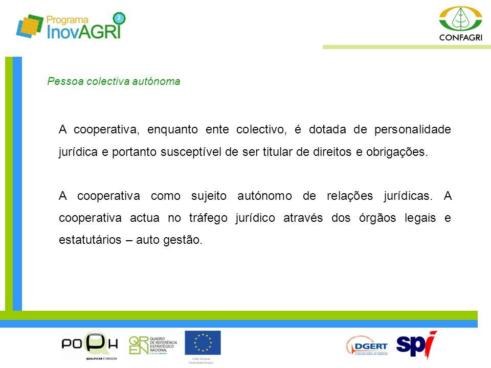 Pessoa colectiva autónoma A cooperativa, enquanto ente colectivo, é dotada de personalidade jurídica e portanto susceptível de ser titular de direitos