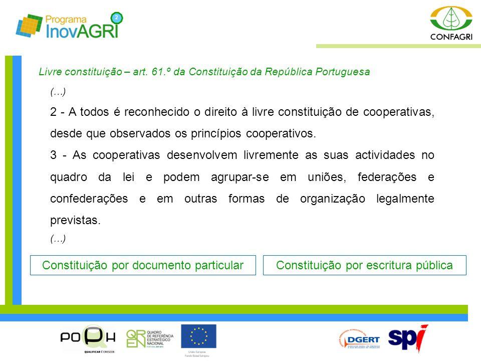 Livre constituição – art. 61.º da Constituição da República Portuguesa (…) 2 - A todos é reconhecido o direito à livre constituição de cooperativas, d