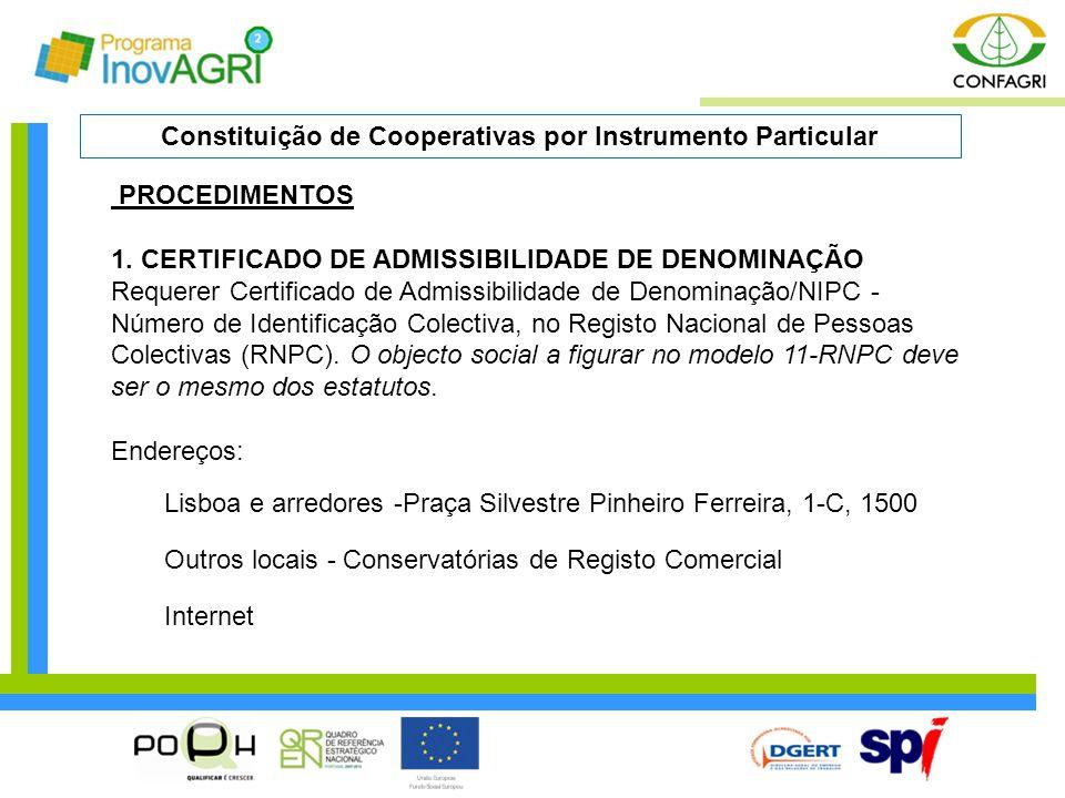 PROCEDIMENTOS 1. CERTIFICADO DE ADMISSIBILIDADE DE DENOMINAÇÃO Requerer Certificado de Admissibilidade de Denominação/NIPC - Número de Identificação C