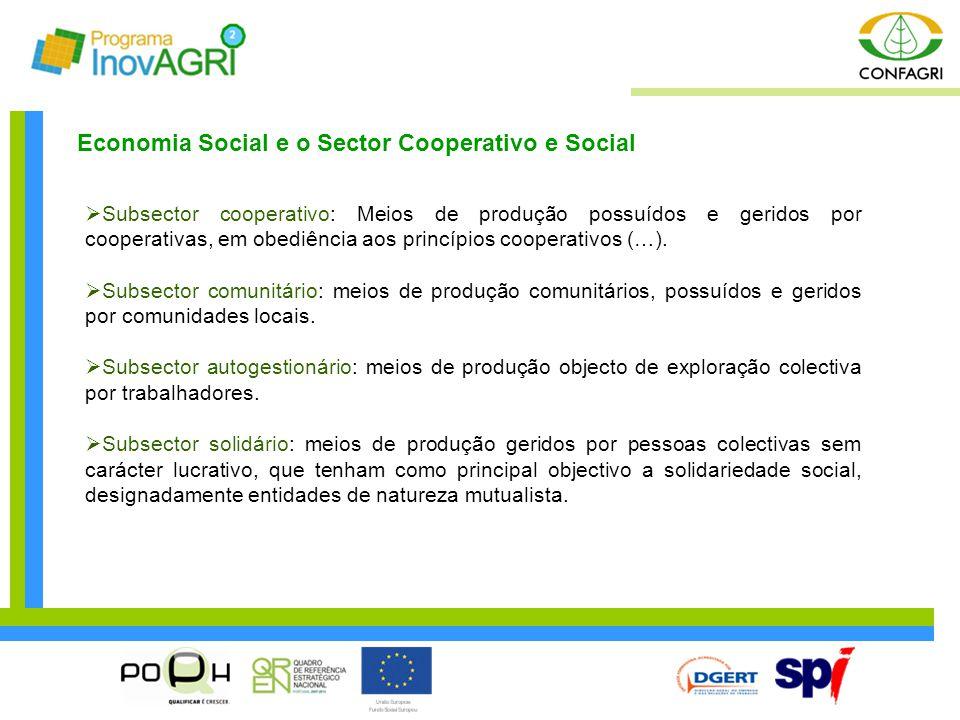  Subsector cooperativo: Meios de produção possuídos e geridos por cooperativas, em obediência aos princípios cooperativos (…).  Subsector comunitári