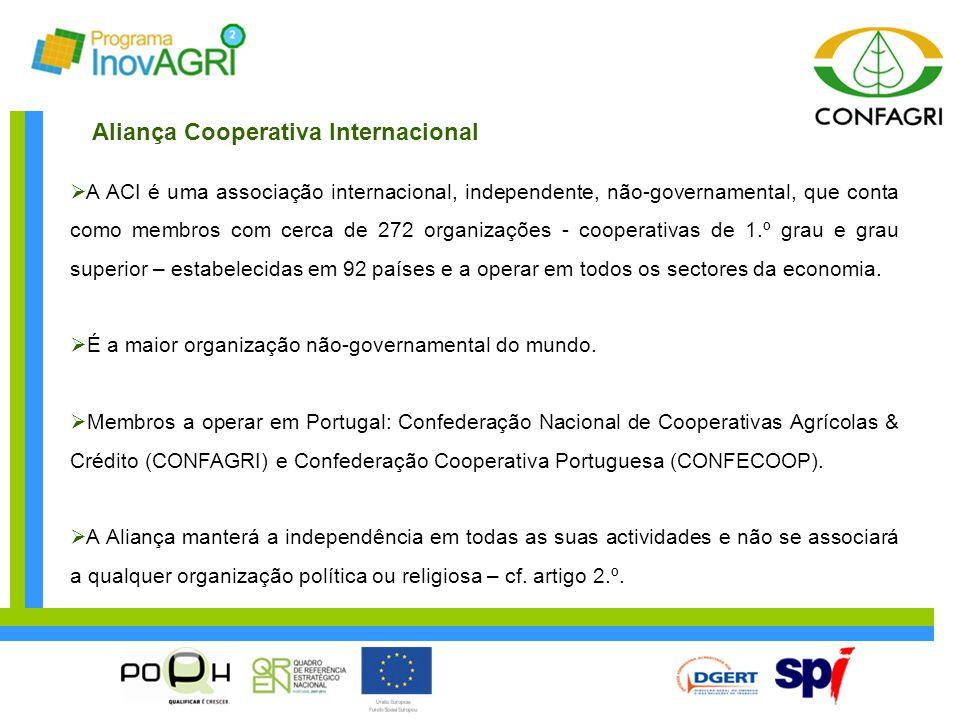  A ACI é uma associação internacional, independente, não-governamental, que conta como membros com cerca de 272 organizações - cooperativas de 1.º gr
