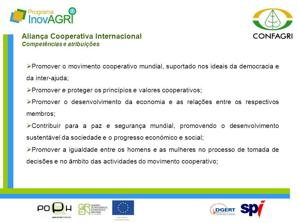 Aliança Cooperativa Internacional Competências e atribuições  Promover o movimento cooperativo mundial, suportado nos ideais da democracia e da inter
