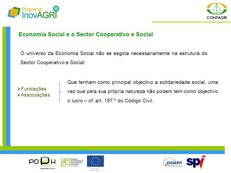 O universo da Economia Social não se esgota necessariamente na estrutura do Sector Cooperativo e Social: Economia Social e o Sector Cooperativo e Soci