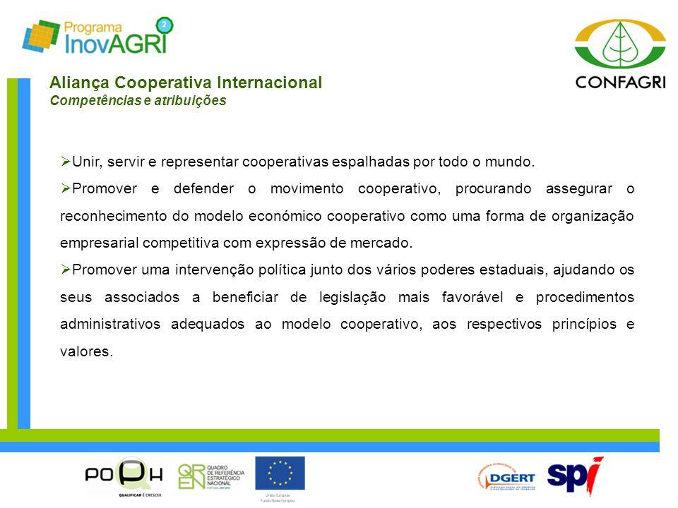 Aliança Cooperativa Internacional Competências e atribuições  Unir, servir e representar cooperativas espalhadas por todo o mundo.  Promover e defen