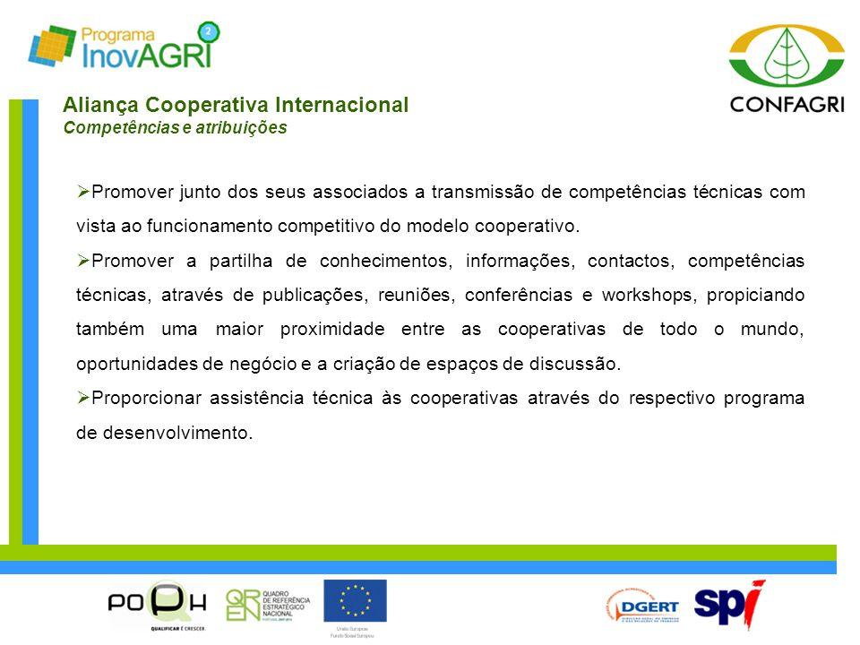 Aliança Cooperativa Internacional Competências e atribuições  Promover junto dos seus associados a transmissão de competências técnicas com vista ao