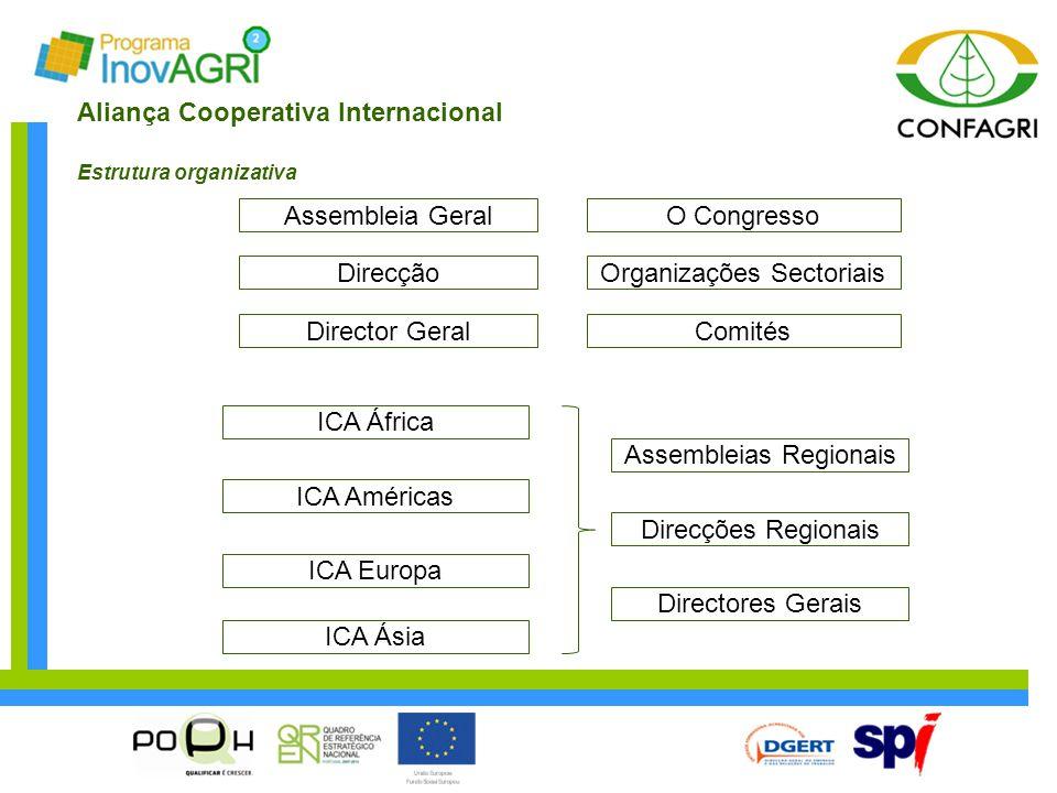 Aliança Cooperativa Internacional Estrutura organizativa Assembleia Geral Direcção Director Geral ICA Europa ICA África ICA Américas ICA Ásia Assemble