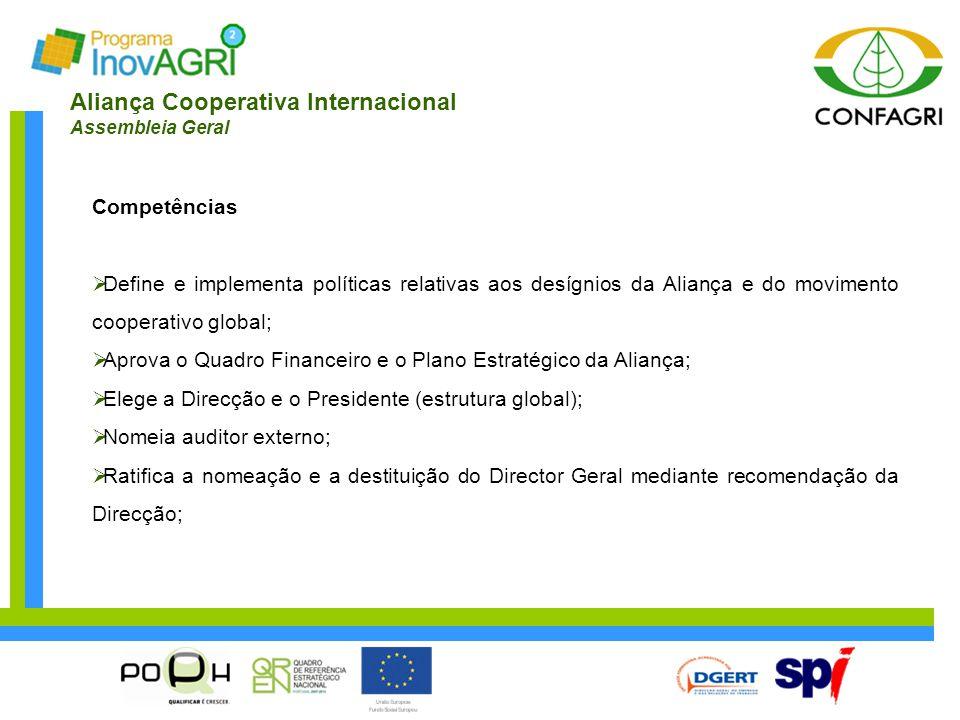 Aliança Cooperativa Internacional Assembleia Geral Competências  Define e implementa políticas relativas aos desígnios da Aliança e do movimento coop