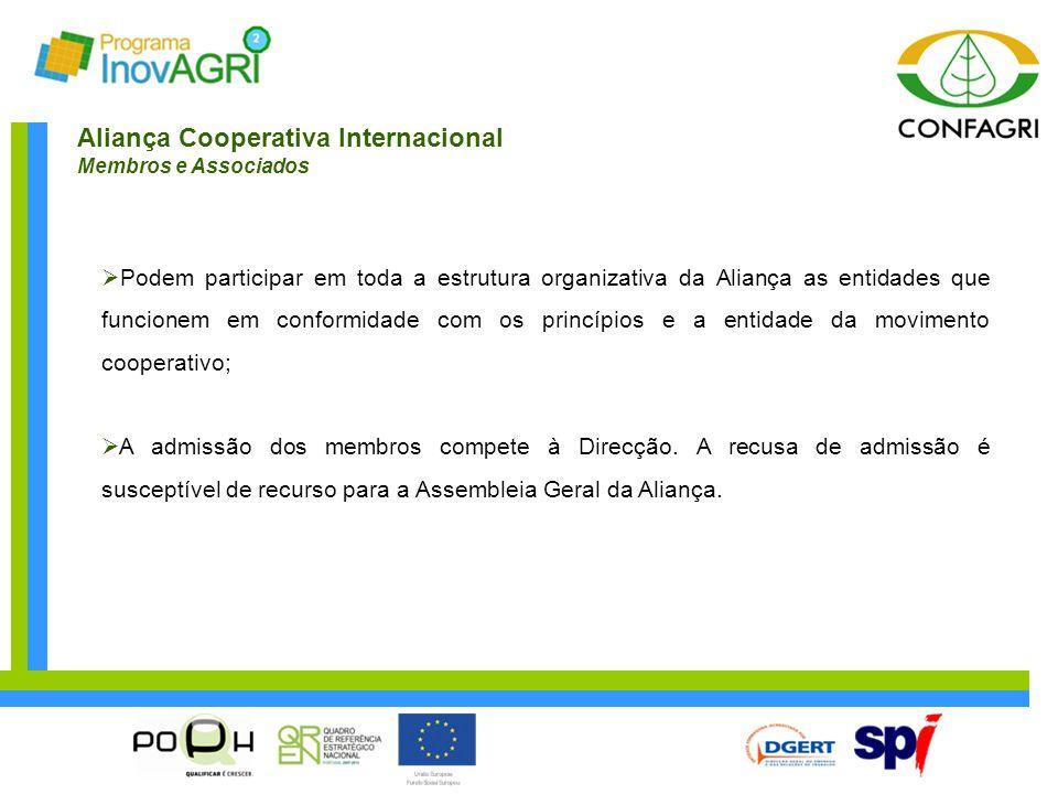 Aliança Cooperativa Internacional Membros e Associados  Podem participar em toda a estrutura organizativa da Aliança as entidades que funcionem em co