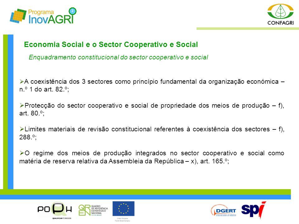 Economia Social e o Sector Cooperativo e Social Enquadramento constitucional do sector cooperativo e social  A coexistência dos 3 sectores como princ
