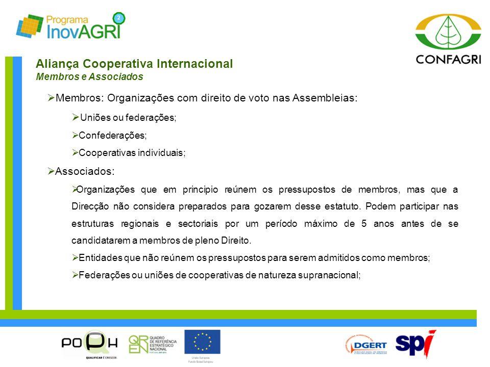 Aliança Cooperativa Internacional Membros e Associados  Membros: Organizações com direito de voto nas Assembleias:  Uniões ou federações;  Confeder