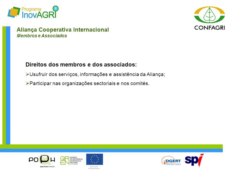 Aliança Cooperativa Internacional Membros e Associados Direitos dos membros e dos associados:  Usufruir dos serviços, informações e assistência da Al