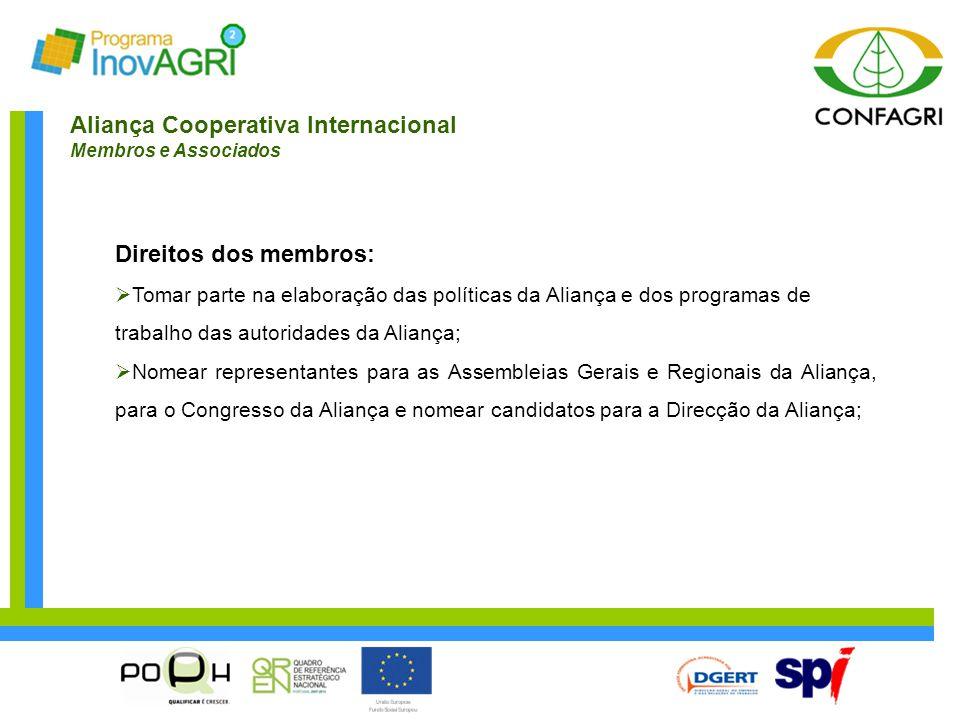 Aliança Cooperativa Internacional Membros e Associados Direitos dos membros:  Tomar parte na elaboração das políticas da Aliança e dos programas de t