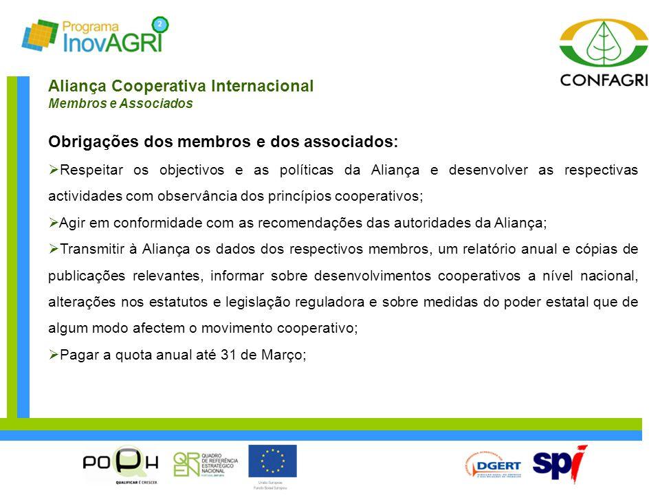 Aliança Cooperativa Internacional Membros e Associados Obrigações dos membros e dos associados:  Respeitar os objectivos e as políticas da Aliança e
