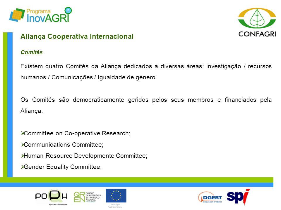 Aliança Cooperativa Internacional Comités Existem quatro Comités da Aliança dedicados a diversas áreas: investigação / recursos humanos / Comunicações