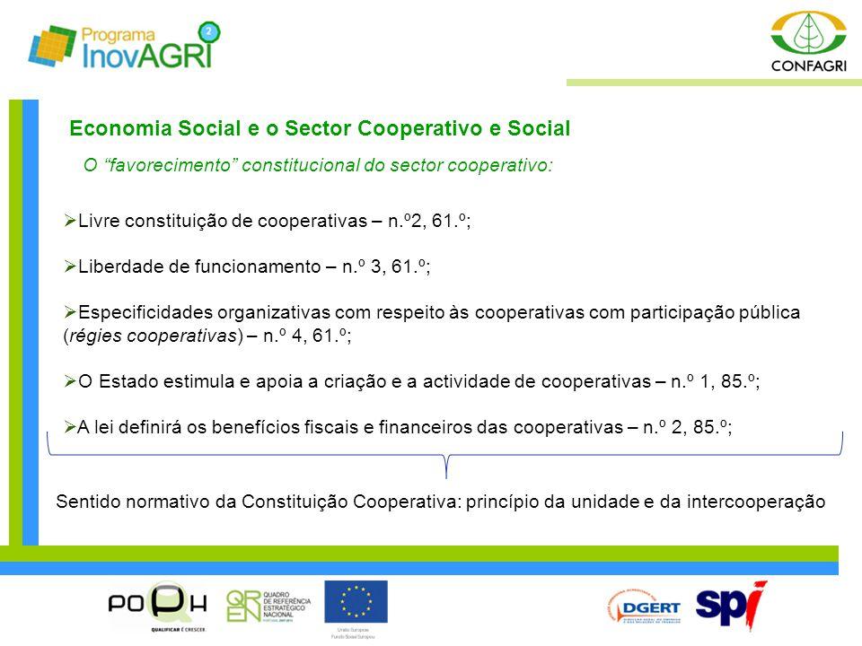 Economia Social e o Sector Cooperativo e Social O favorecimento constitucional do sector cooperativo:  O cooperativismo na política agrícola – arts.