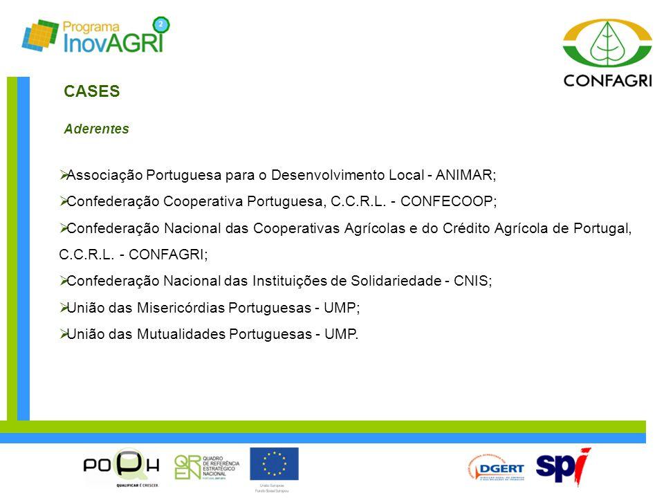 CASES Aderentes  Associação Portuguesa para o Desenvolvimento Local - ANIMAR;  Confederação Cooperativa Portuguesa, C.C.R.L. - CONFECOOP;  Confeder