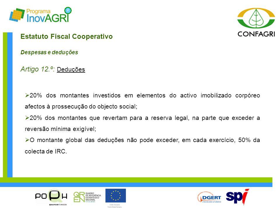 Estatuto Fiscal Cooperativo Despesas e deduções Artigo 12.º: Deduções  20% dos montantes investidos em elementos do activo imobilizado corpóreo afect
