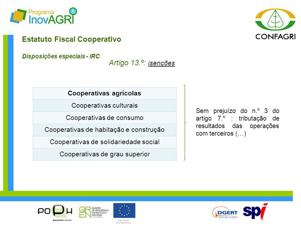 Estatuto Fiscal Cooperativo Disposições especiais - IRC Artigo 13.º: isenções Cooperativas agrícolas Cooperativas culturais Cooperativas de consumo Co
