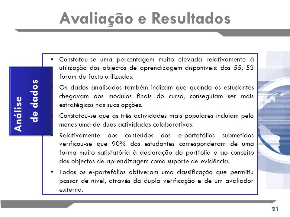 21 Constatou-se uma percentagem muito elevada relativamente à utilização dos objectos de aprendizagem disponíveis: dos 55, 53 foram de facto utilizados.