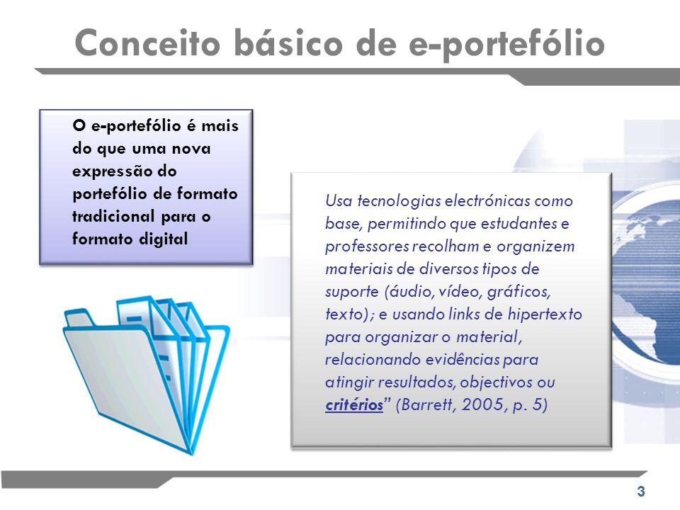 3 Conceito básico de e-portefólio Usa tecnologias electrónicas como base, permitindo que estudantes e professores recolham e organizem materiais de diversos tipos de suporte (áudio, vídeo, gráficos, texto); e usando links de hipertexto para organizar o material, relacionando evidências para atingir resultados, objectivos ou critérios (Barrett, 2005, p.