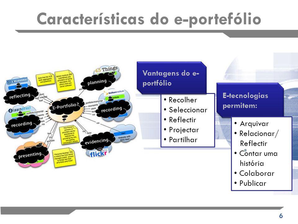 6 Recolher Seleccionar Reflectir Projectar Partilhar Vantagens do e- portfólio E-tecnologias permitem: Arquivar Relacionar/ Reflectir Contar uma história Colaborar Publicar Características do e-portefólio