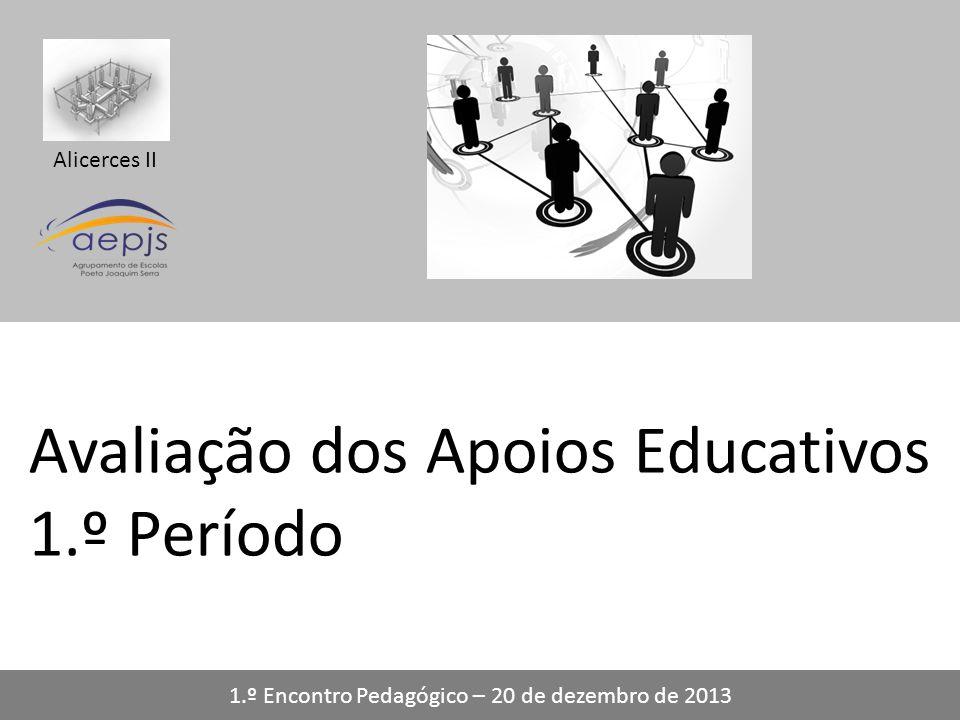Alicerces II Avaliação dos Apoios Educativos 1.º Período 1.º Encontro Pedagógico – 20 de dezembro de 2013