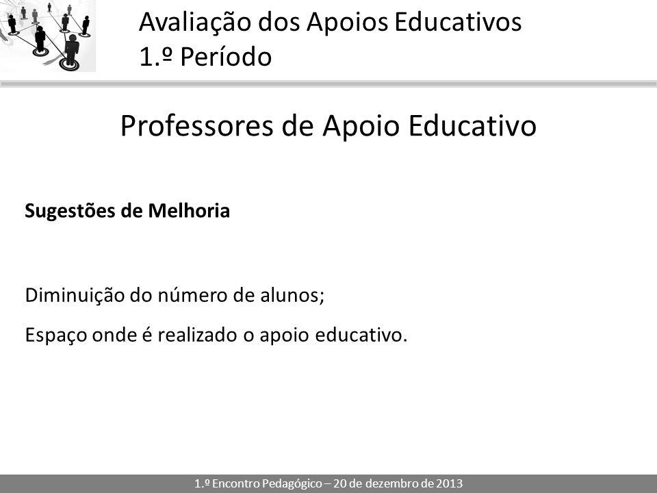1.º Encontro Pedagógico – 20 de dezembro de 2013 Avaliação dos Apoios Educativos 1.º Período Professores de Apoio Educativo Sugestões de Melhoria Diminuição do número de alunos; Espaço onde é realizado o apoio educativo.