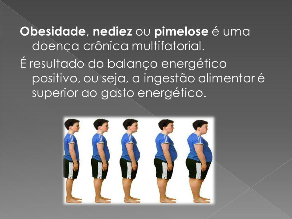 Obesidade, nediez ou pimelose é uma doença crônica multifatorial. É resultado do balanço energético positivo, ou seja, a ingestão alimentar é superior