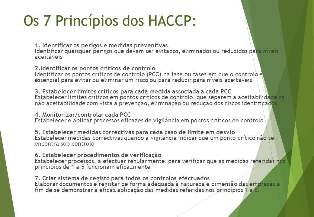 Os 7 Princípios dos HACCP: 1. Identificar os perigos e medidas preventivas Identificar quaisquer perigos que devam ser evitados, eliminados ou reduzid