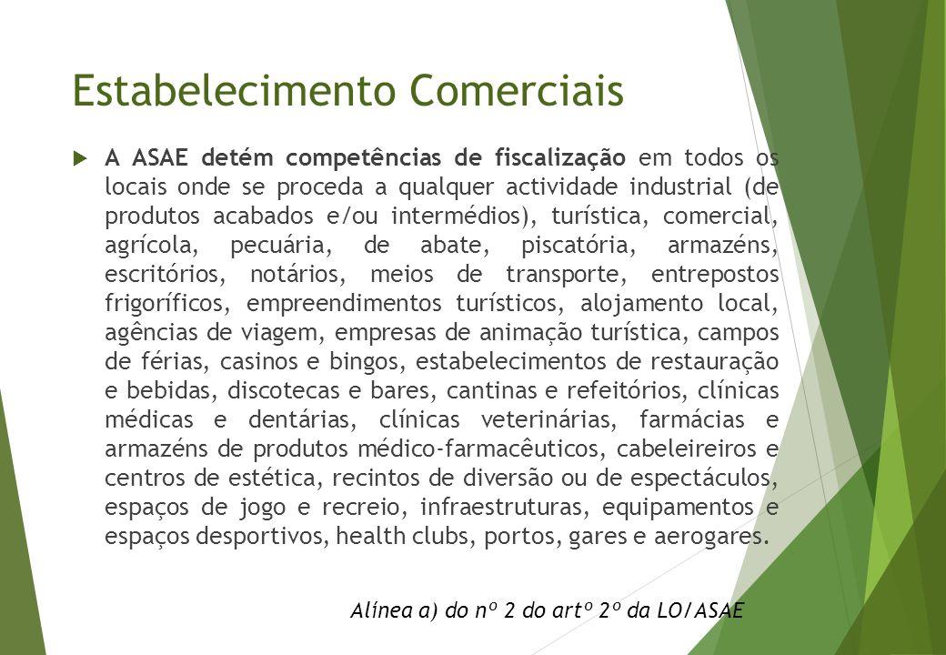 Estabelecimento Comerciais  A ASAE detém competências de fiscalização em todos os locais onde se proceda a qualquer actividade industrial (de produto