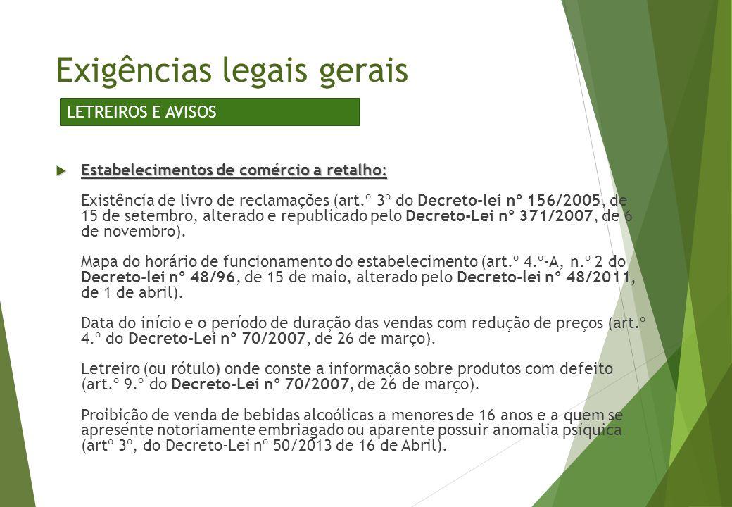  Estabelecimentos de comércio a retalho:  Estabelecimentos de comércio a retalho: Existência de livro de reclamações (art.º 3º do Decreto-lei nº 156