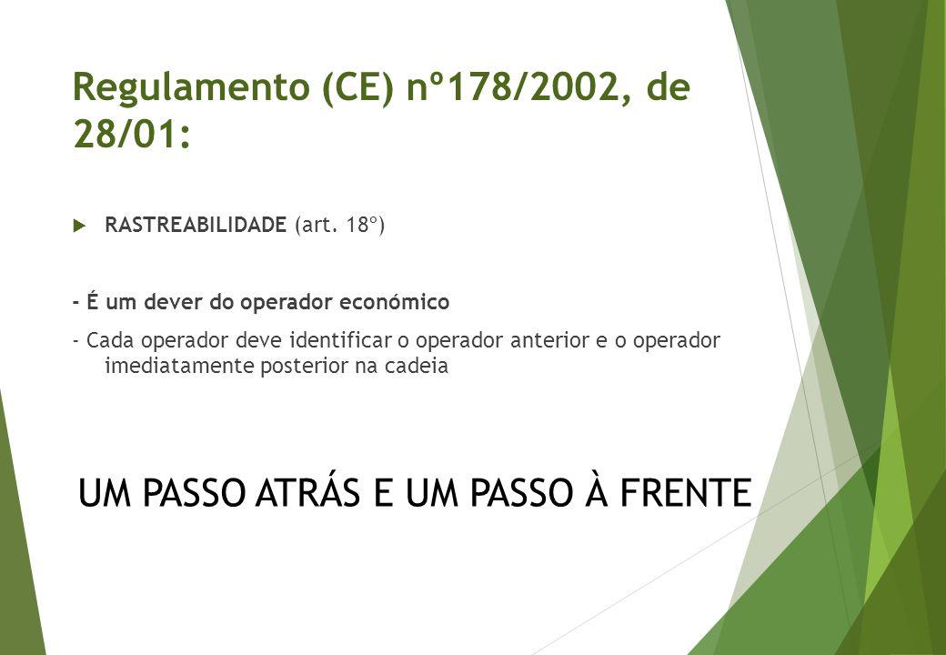  RASTREABILIDADE (art. 18º) - É um dever do operador económico - Cada operador deve identificar o operador anterior e o operador imediatamente poster