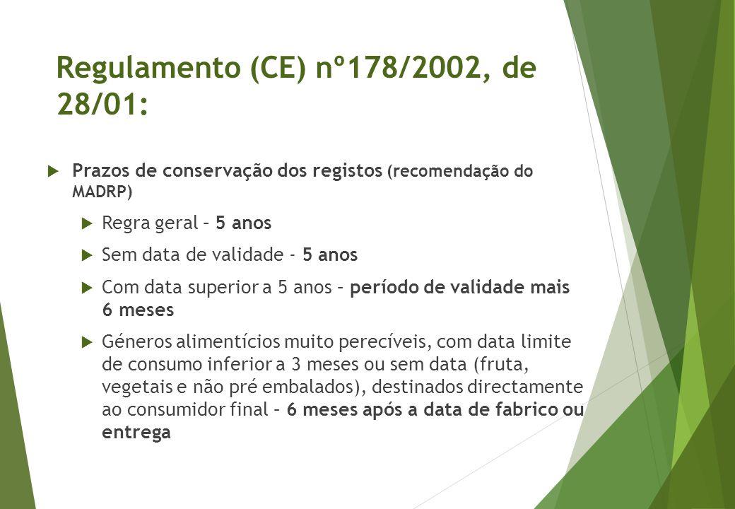  Prazos de conservação dos registos (recomendação do MADRP)  Regra geral – 5 anos  Sem data de validade - 5 anos  Com data superior a 5 anos – per